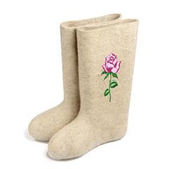 валенки с вышивкой белые, роза
