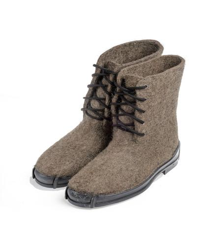 Ботинки валяные на противоскользящей резиновой подошве, серые