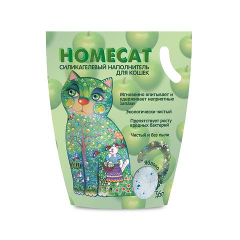HOMECAT Яблоко силикагелевый наполнитель для кошачьих туалетов с ароматом яблока 3,8л