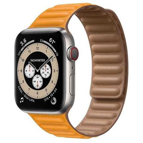 Умные часы Apple Watch Edition Series 6 GPS + Cellular 44mm Titanium Case with Leather Link (California Poppy)