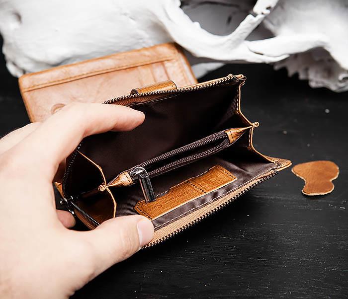 WL257-2 Вместительный мужской кошелек из натуральной кожи на застежке фото 05