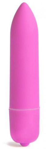 Розовая вибропуля X-Basic Long Bullet-10 speeds - 9 см.