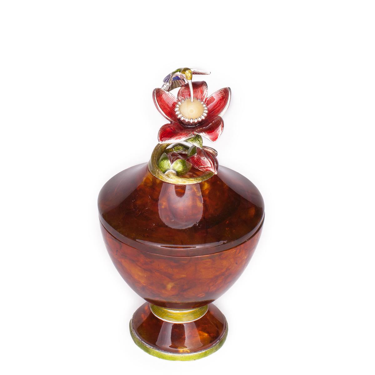 Шкатулочка из янтаря «Колибри» высокая