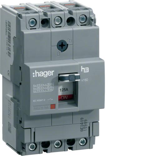 Автоматический выключатель, x160, TM рег.уст.терм., 3P 25kA 80-50A, 440В АС