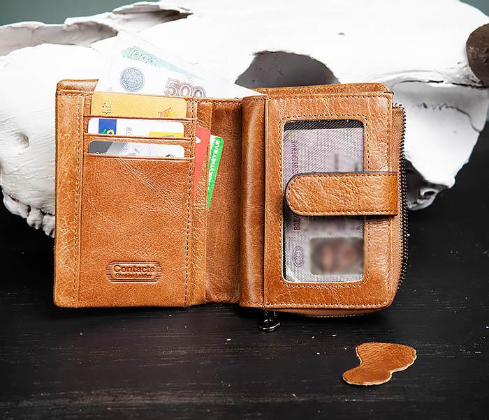 WL257-2 Вместительный мужской кошелек из натуральной кожи на застежке фото 06