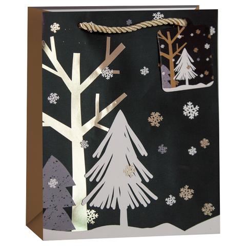 Пакет подарочный, Новогодний пейзаж, Черный/Золото, 23*18*10 см