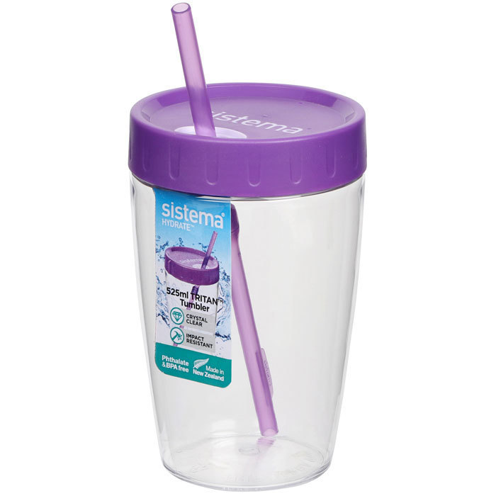 "Стакан с трубочкой Sistema ""Hydrate"", Тритан, 525  мл, цвет Фиолетовый"