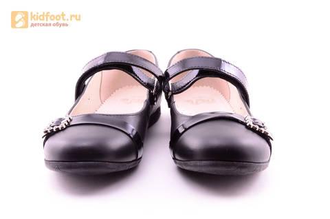 Туфли для девочек из натуральной кожи на липучке Лель (LEL), цвет черный. Изображение 5 из 20.