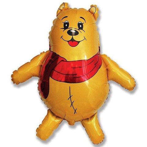 Фольгированный воздушный шар Медвежонок с красным шарфом. Желтый.