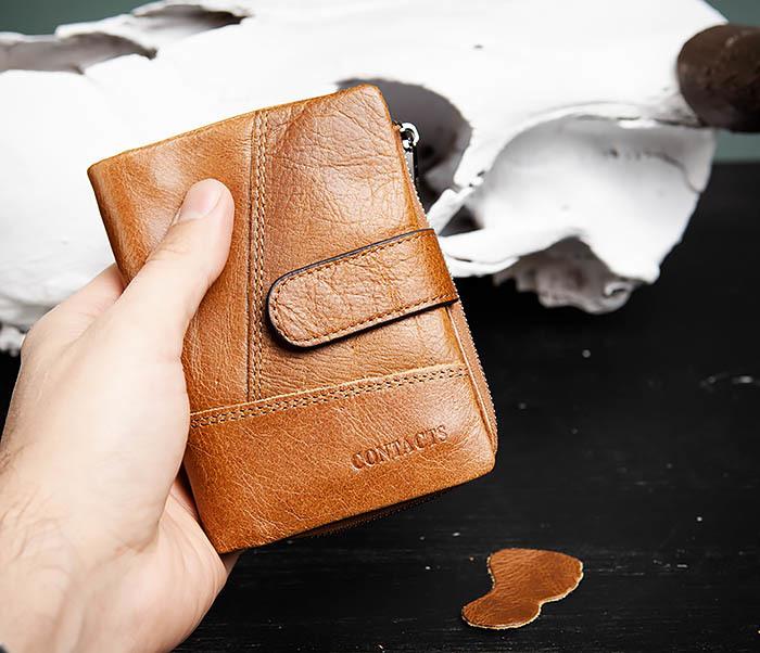 WL257-2 Вместительный мужской кошелек из натуральной кожи на застежке фото 07