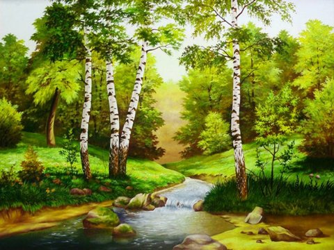 Картина раскраска по номерам 40x50 Речка в лесу