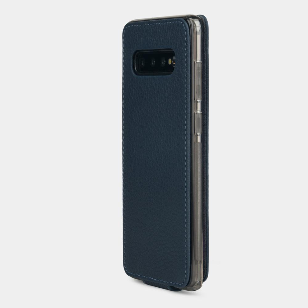 Чехол для Samsung Galaxy S10 Plus из натуральной кожи теленка, цвета синий мат
