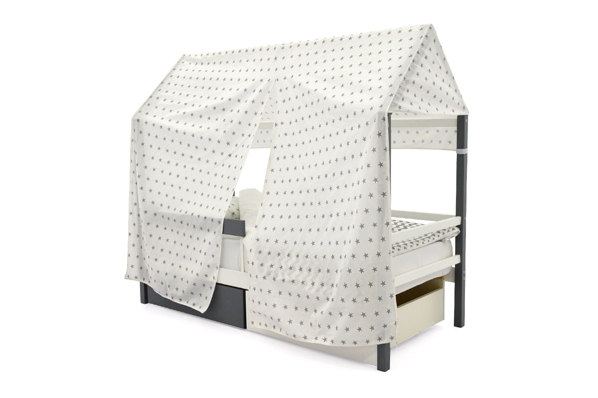 """Крыша текстильная для кровати-домика Svogen """"звезды графит"""""""
