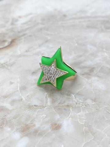 Кольцо Звезда из позолоченного серебра с зеленой эмалью