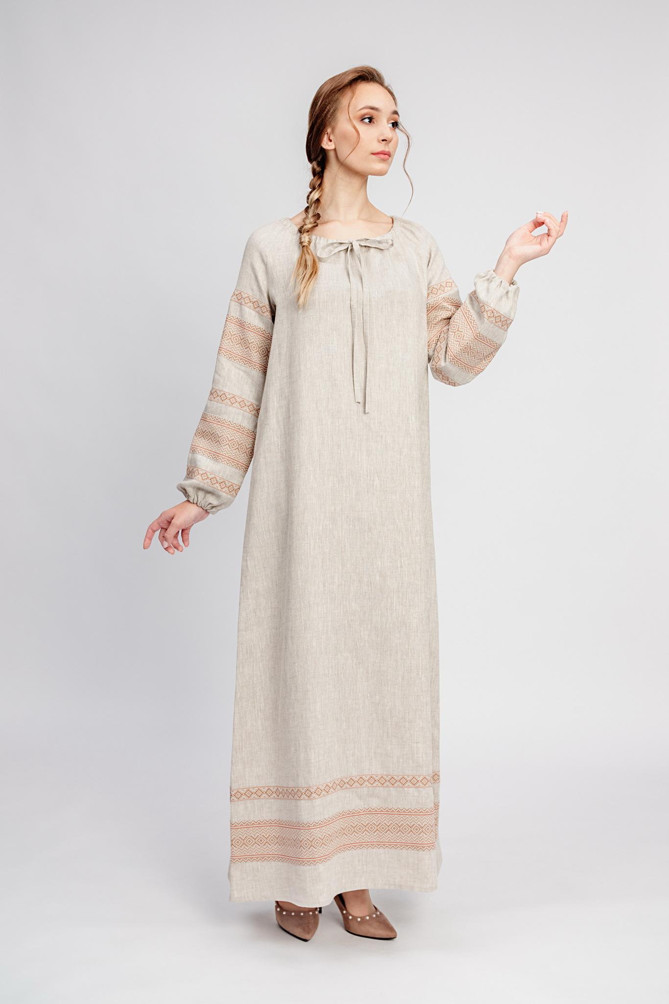 Льняное платье в русском стиле Лада