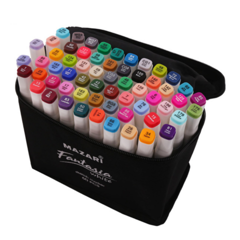 Mazari Fantasia White набор маркеров для скетчинга 60 шт двусторонние спиртовые пуля/долото 2.5-6.2 мм