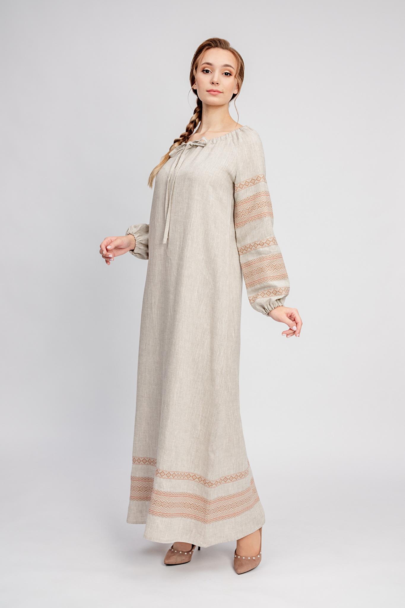 Народное платье из льна Лада