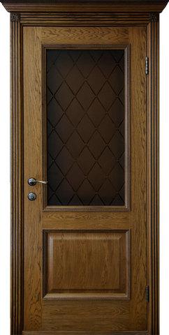 Дверь Гранд Модерн Шервуд (темное дерево, остекленная, массив хвойных пород)