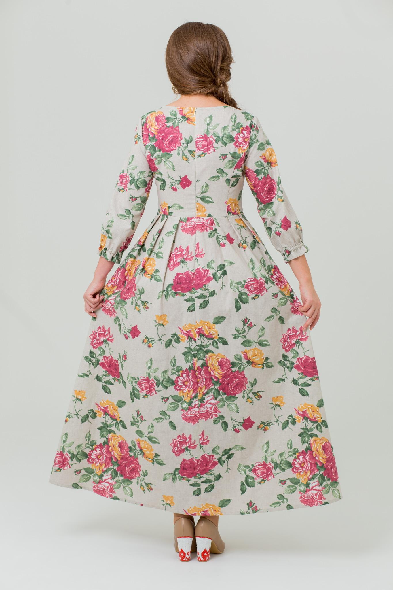 Платье льняное Мелодия любви хлопковое