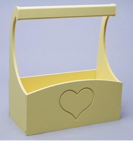 Ящик деревянный с ручкой (размер: 25х12,5х10 h25см) Сердце желтый