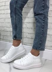 Белые кожаные кеды кроссовки женские.