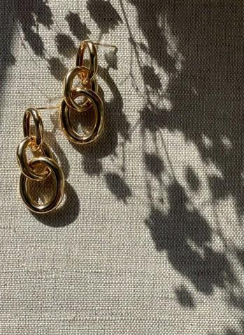 Серьги-цепи золотые