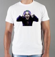 Футболка с принтом Джокер, Отряд самоубийц (Joker, Suicide Squad, Джаред Лето) белая 0022