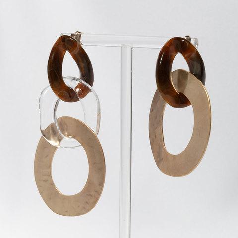 Серьги-асимметрия с комбинированными звеньями (коричневый)