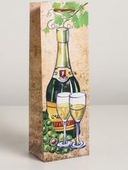 Пакет ламинированный под бутылку, Шампанское 12 х 9 х 36 см, 1 шт.