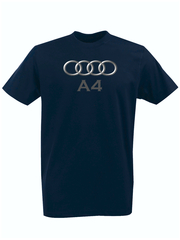 Футболка с принтом Ауди A4 (Audi A4) темно-синяя 001