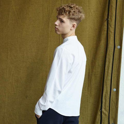 Подростковая рубашка со льна в белом цвете для мальчиков