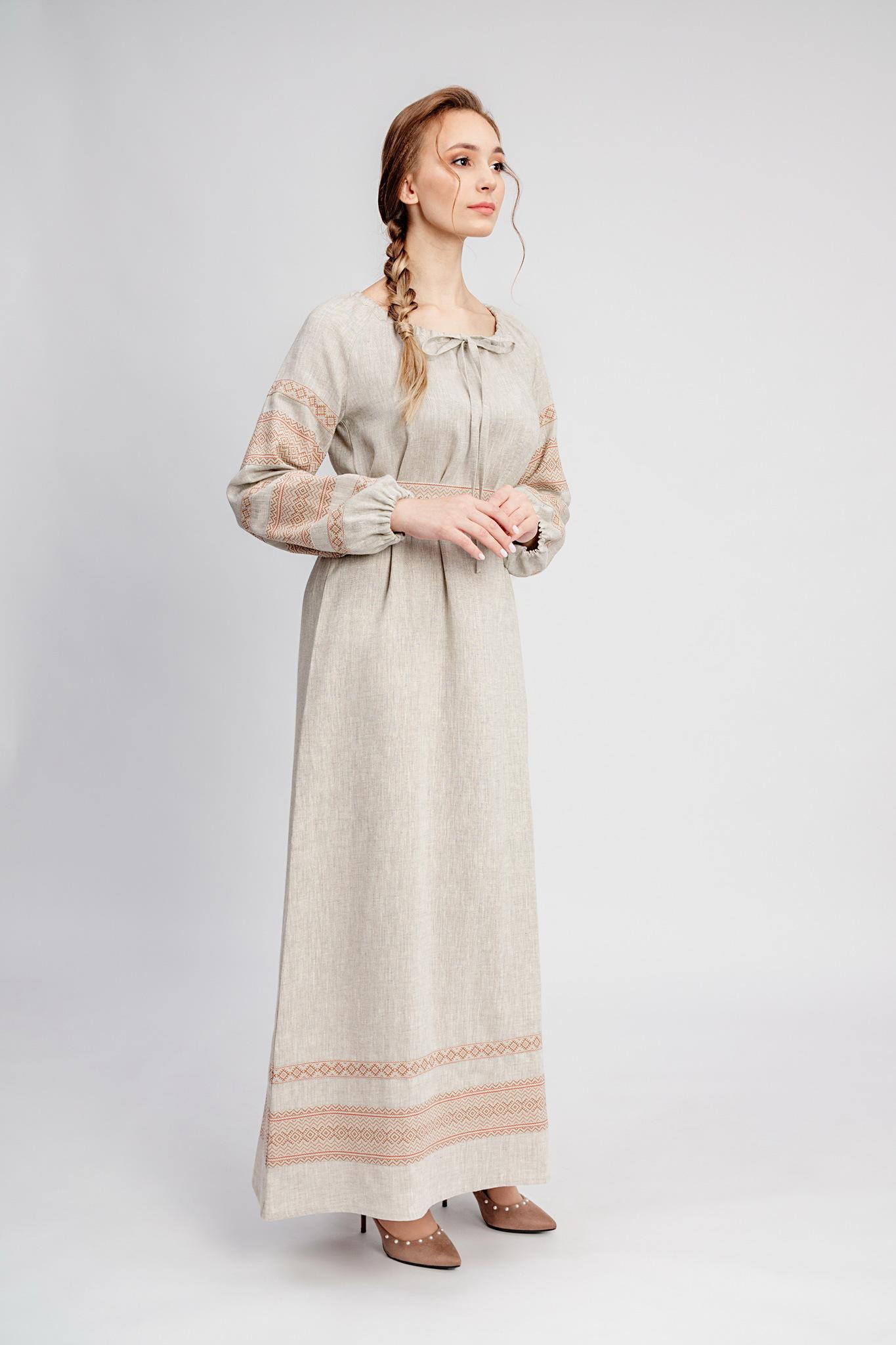 Славянское платье из льна с доставкой Лада