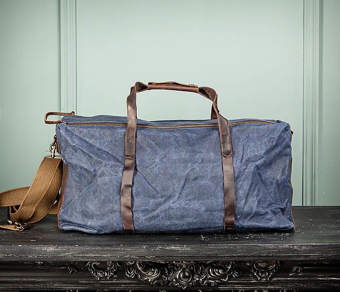 BAG499-3 Большая сумка из ткани синего цвета с ремнем на плечо фото 02