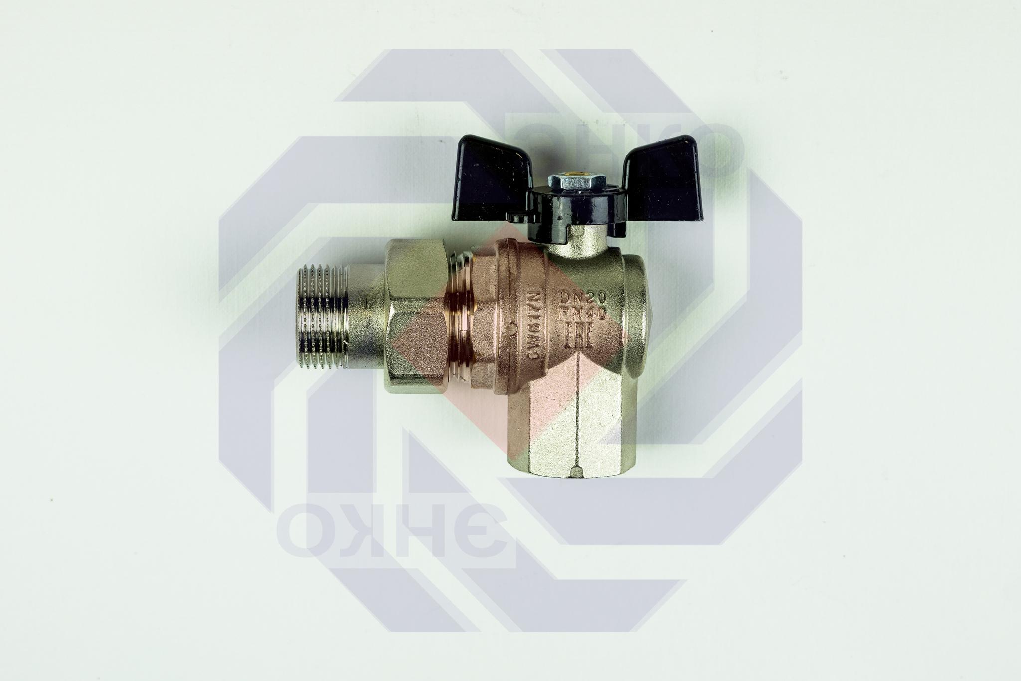 Кран шаровой угловой с разборным присоединением ВР/НР BUGATTI 594 ¾