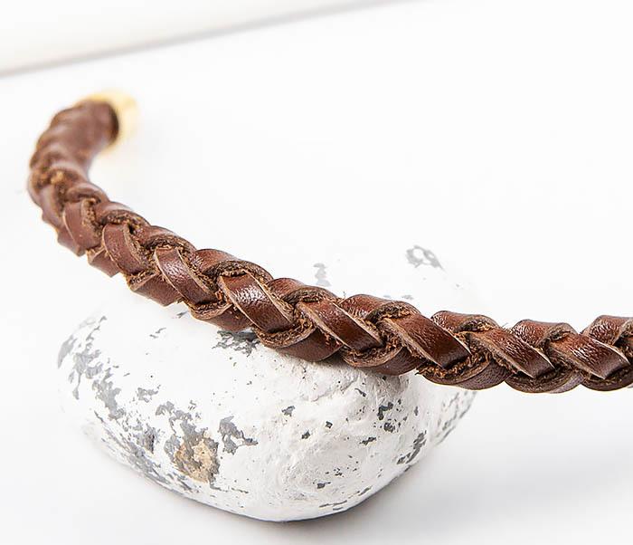 BL786-2 Браслет ручной работы из коричневого кожаного шнура фото 03