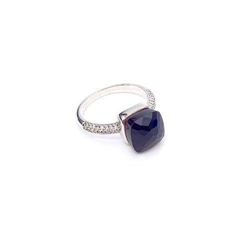 33355-Кольцо из серебра CARAMEL с темно-аметистовым кварцем