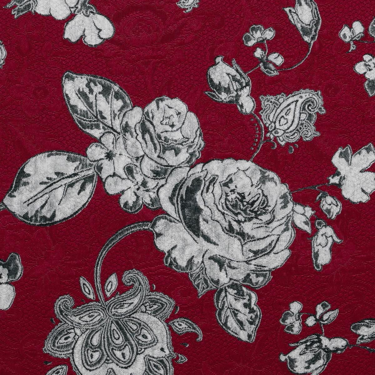 Хлопковое матлассе с шёлком серые цветы на свекольном