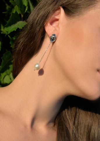 Серьги с жемчугом Aurora Linea Long серебристые