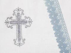 Папитто. Набор крестильный для мальчика с голубым кружевом, вид 3