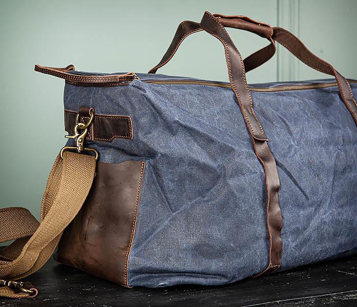 BAG499-3 Большая сумка из ткани синего цвета с ремнем на плечо фото 04