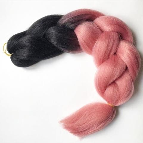 Канекалон B24 (омбре из чёрного в пыльно-розовый)