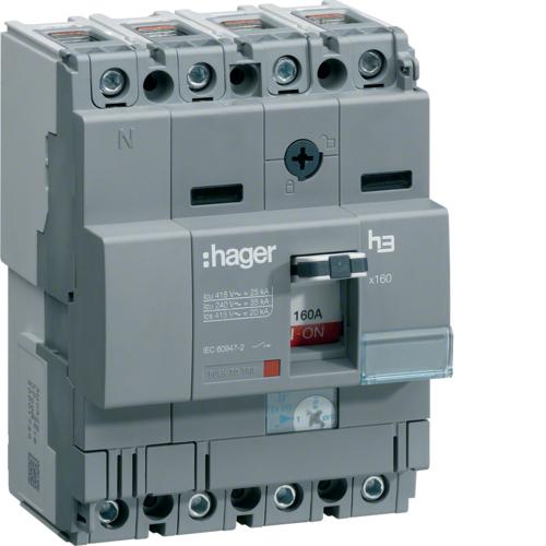 Автоматический выключатель, x160, TM рег.уст.терм., 4P4D Icu=25kA In=100-63A, Ue до 440В АС