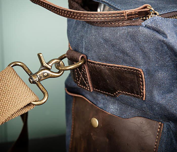 BAG499-3 Большая сумка из ткани синего цвета с ремнем на плечо фото 05