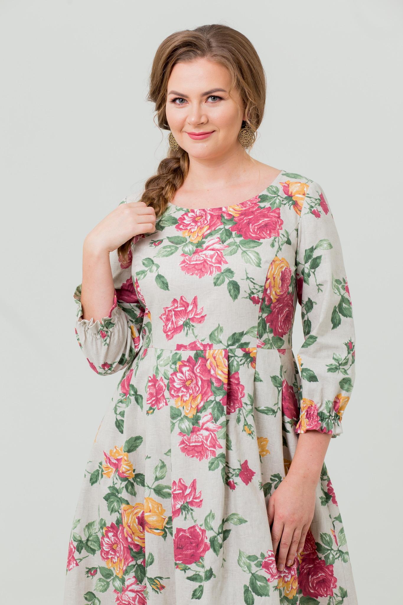 Платье льняное Мелодия любви с цветами