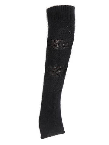 Женские митенки черного цвета из ангоры - фото 2