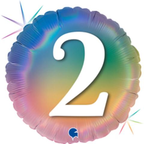 Г Круг 2 Цифра, Радужный, Голография, 18