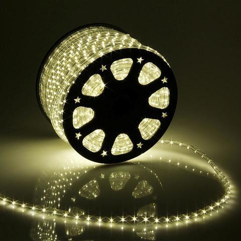 Дюралайт светодиодный, чейзинг, 13мм - 3 жилы - 36 led/m, Тёплый белый - 100м