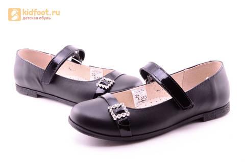 Туфли для девочек из натуральной кожи на липучке Лель (LEL), цвет черный. Изображение 12 из 20.