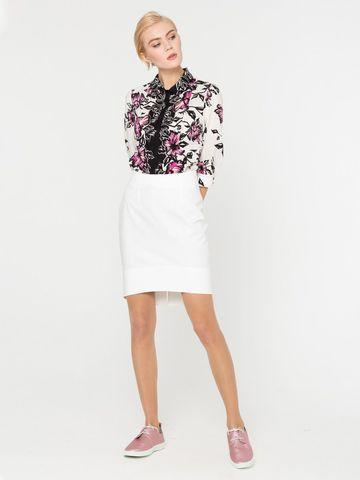 Фото белая ассиметричная юбка обтягивающего силуэта с подгибкой - Юбка Б791-343 (1)