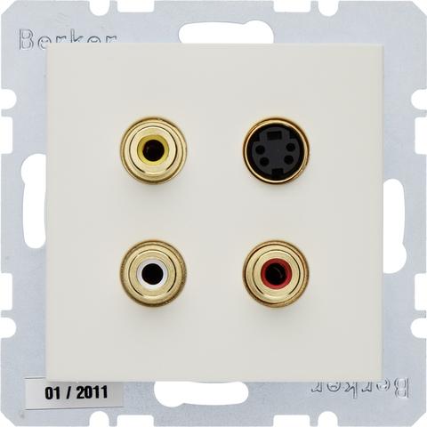 Розетка тройная RCA/S-Video. Цвет Бежевый. Berker (Беркер). S.1. 3315328982
